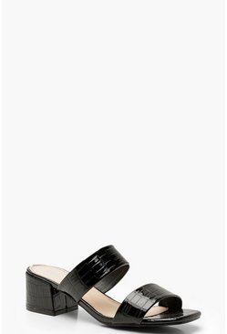 Square Toe Double Strap Mules, Black, DAMEN