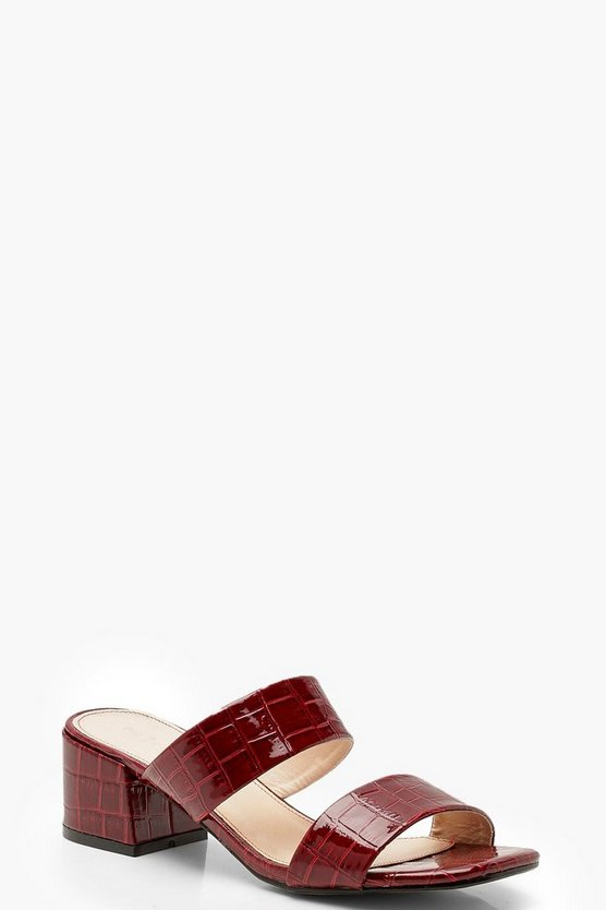 Womens Red Square Toe Double Strap Mules