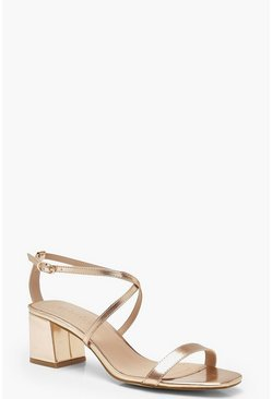 Womens Rose gold Cross Strap Low Block Heels