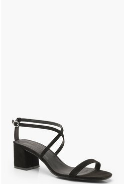 Cross Strap Low Block Heels, Black, MUJER