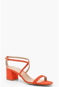 Cross Strap Low Block Heels, Orange, MUJER