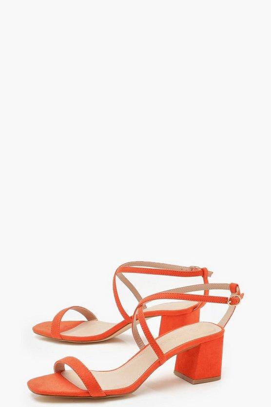 Cross Strap Low Block Heels
