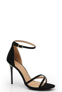 Cross Strap 2 Part Heels, Black, Donna