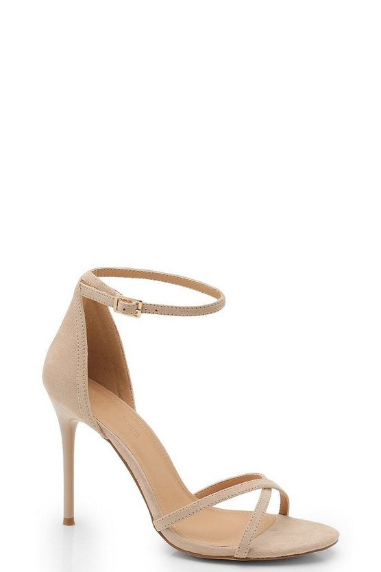 Womens Nude Cross Strap 2 Part Heels