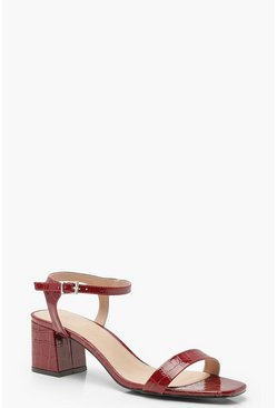 Croc 2 Part Low Block Heels, Red, MUJER