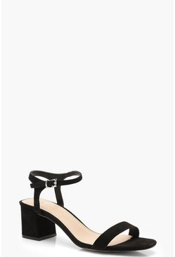 Low Block Heel 2 Part Heels, Black, MUJER