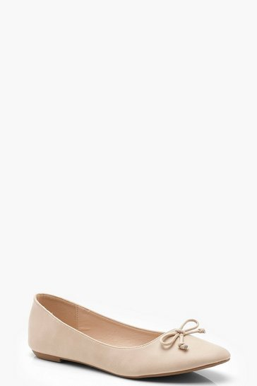Womens Nude Basic Ballet Pumps