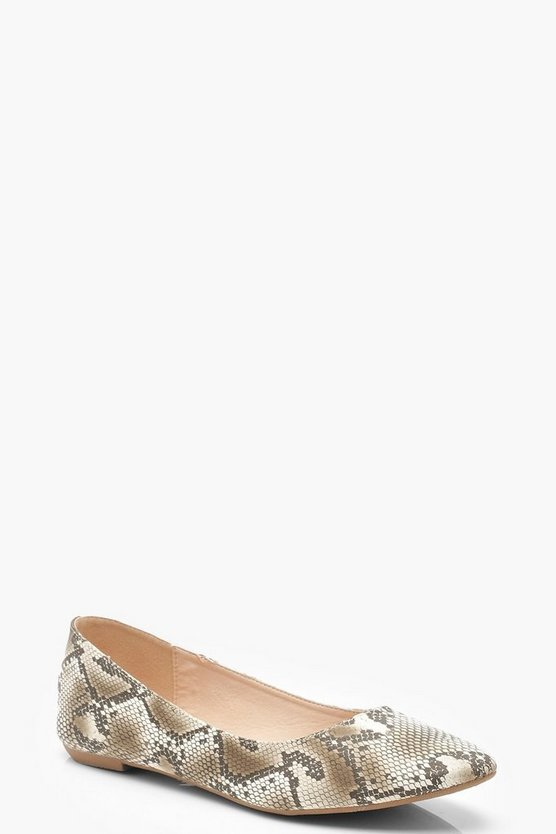 Womens Beige Snake Basic Ballet Pumps