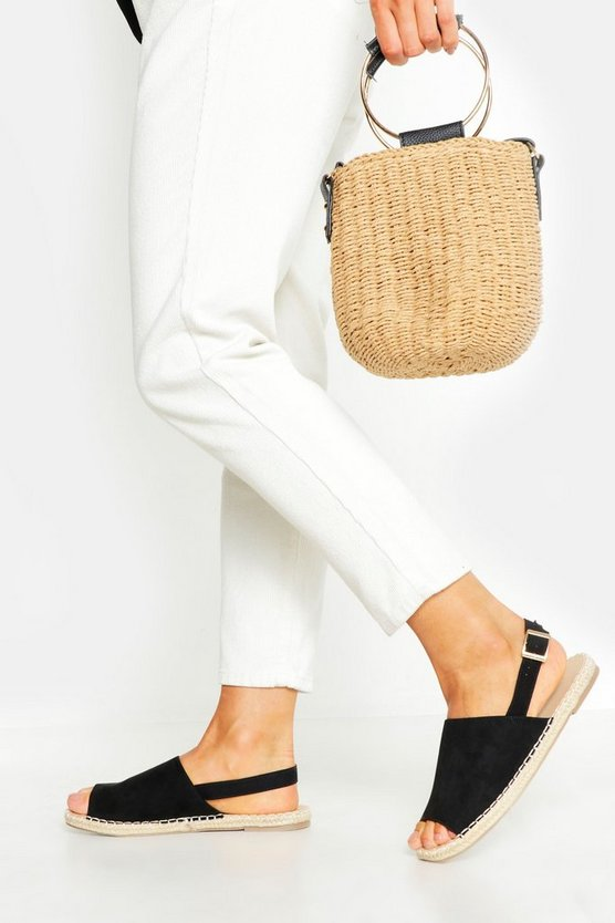 Black Wide Fit Peeptoe Espadrilles