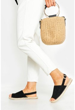 Womens Black Wide Fit Peeptoe Espadrilles