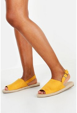 Womens Mustard Wide Fit Peeptoe Espadrilles
