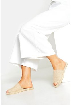 Womens Natural Wide Fit Peeptoe Mule Espadrilles
