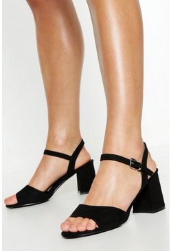 Wide Fit Peeptoe Block Heels, Black, MUJER
