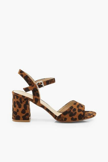 Womens Wide Fit Leopard Peeptoe Block Heels