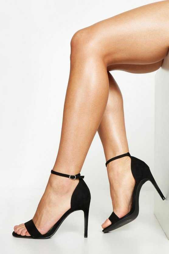 Wide Fit 2 Part Heels, Black, ЖЕНСКОЕ