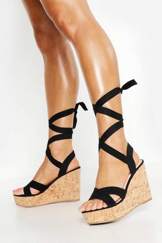 Wide Fit Wrap Wedges, Black, FEMMES
