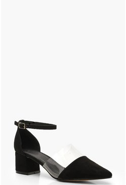Wide Fit Pointed Low Block Heels, Black, MUJER