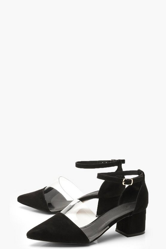 Wide Fit Pointed Low Block Heels