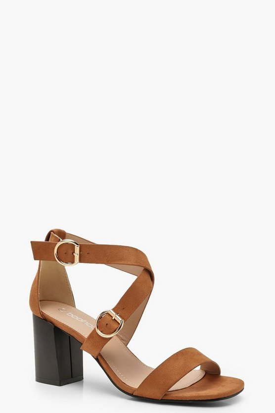 Wide Fit Buckle Trim Block Heels