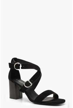 Wide Fit Buckle Trim Block Heels, Black, MUJER