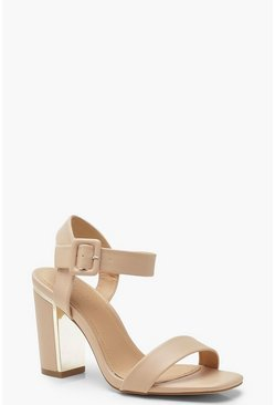 Wide Fit Block Heel 2 Part Heels, Nude, MUJER