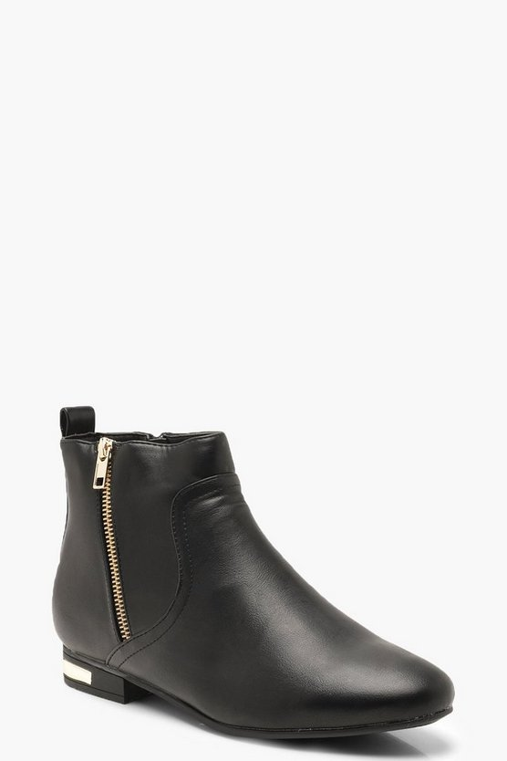 Womens Black Metal Trim & Zip Chelsea Boots