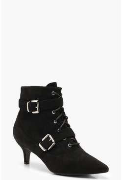 Womens Black Buckle Trim Pointed Shoe Boots