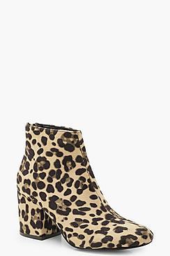 Leopard Block Heel Shoe Boots