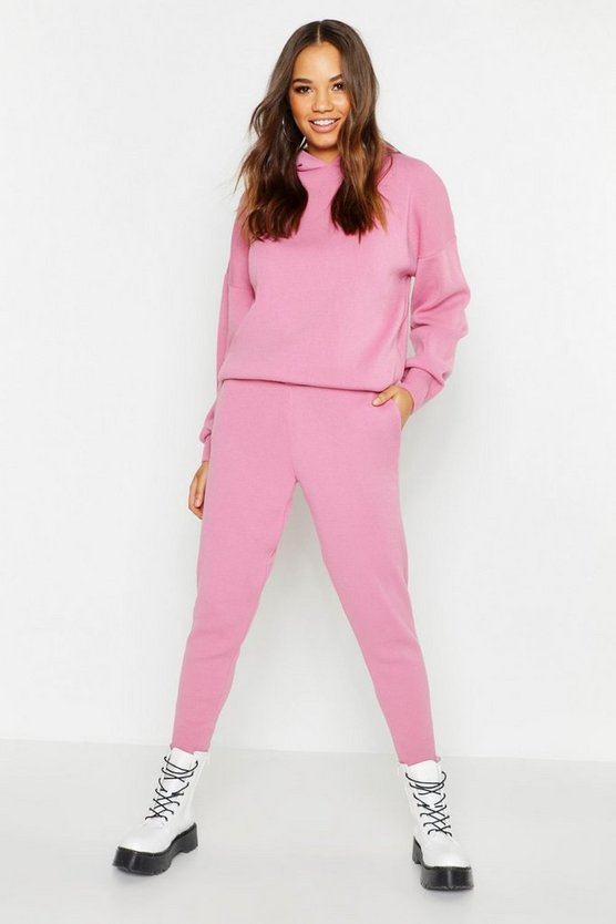 Womens Dusky pink Hooded Knitted Set
