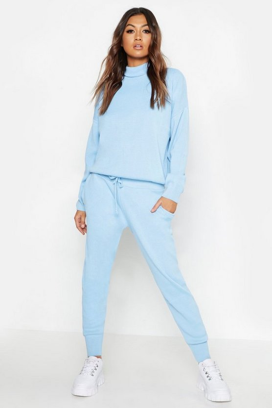 Womens Sky Roll Neck Knitted Set