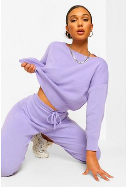 Slash Neck Cropped Knitted Set, Lilac, FEMMES