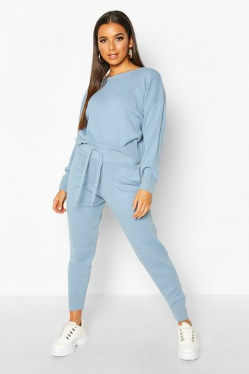 Womens Baby blue Slash Neck Cropped Knitted Set