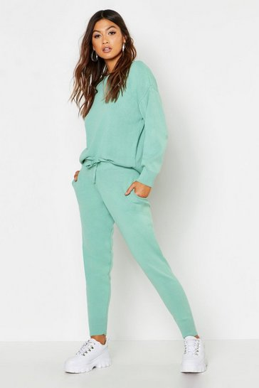 Womens Sage Slash Neck Cropped Knitted Set