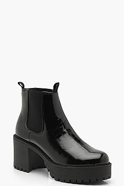 Chunky Cleated Croc Chelsea Boots
