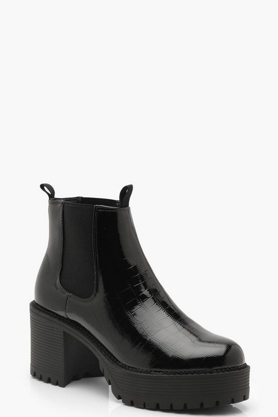 Chunky Cleated Croc Chelsea Boots, Black, Donna