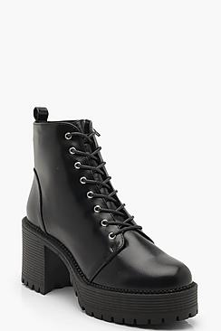 Chunky Lace Up Cleated Boots