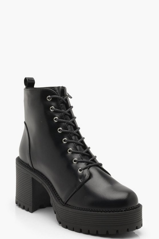 Womens Black Chunky Lace Up Cleated Boots