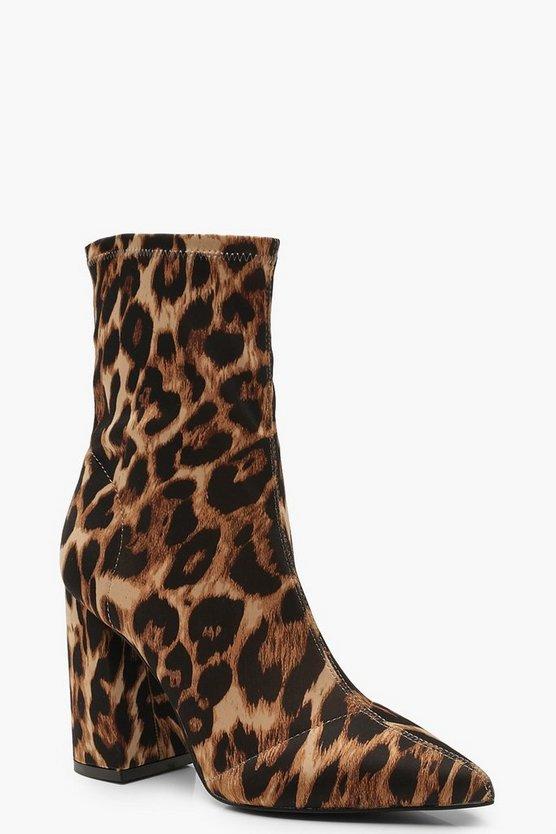 Leopard Block Heel Sock Boots
