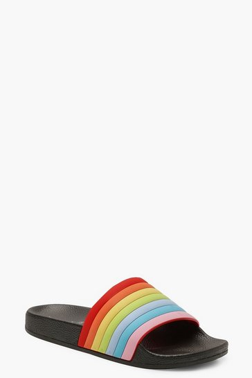 Womens Black Rainbow Sliders