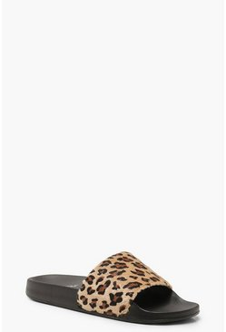 Womens Leopard Sliders