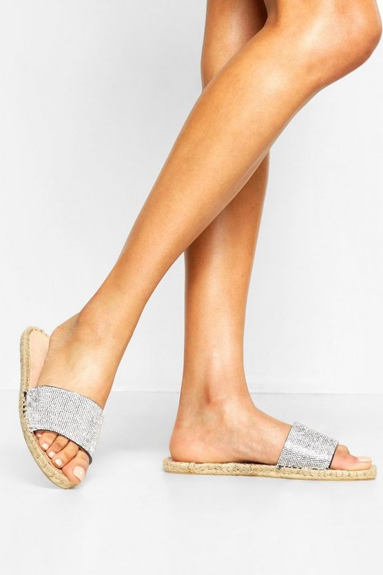 Black Embellished Espadrille Sliders