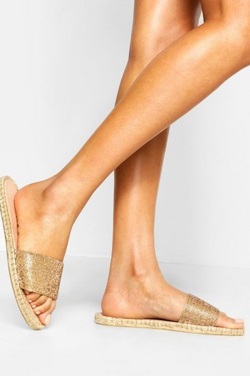 Womens Rose gold Embellished Espadrille Sliders