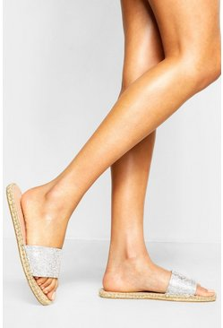 Womens Silver Embellished Espadrille Sliders