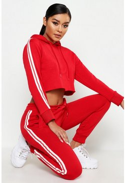 Womens Red Sports Tape Hooded Tracksuit