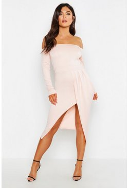 Womens Nude Off The Shoulder Wrap Skirt Midi Dress