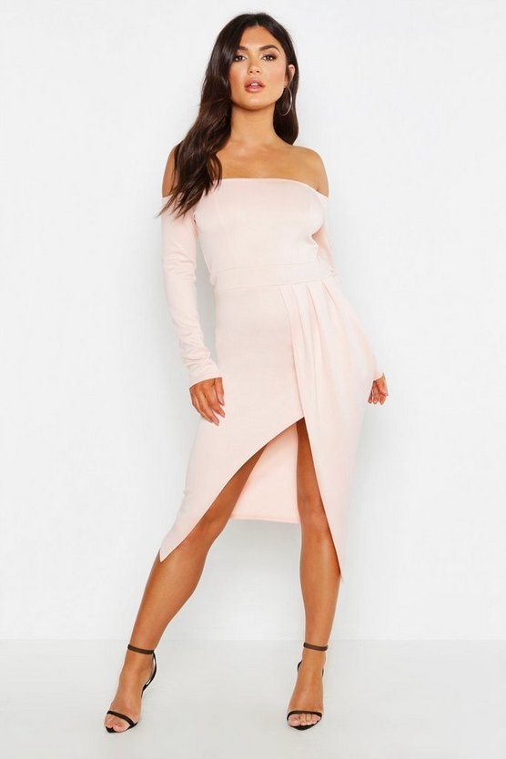Off The Shoulder Wrap Skirt Midi Dress