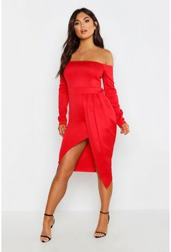 Womens Red Off The Shoulder Wrap Skirt Midi Dress