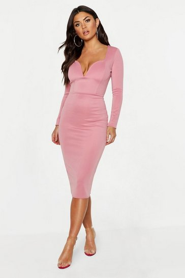 Womens Rose Plunge Neck Midi Dress
