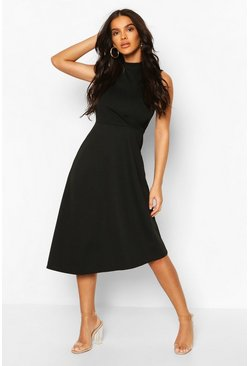Womens Black High Neck Asymmetric Midi Skater Dress