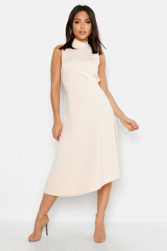 Womens Blush High Neck Asymmetric Midi Skater Dress
